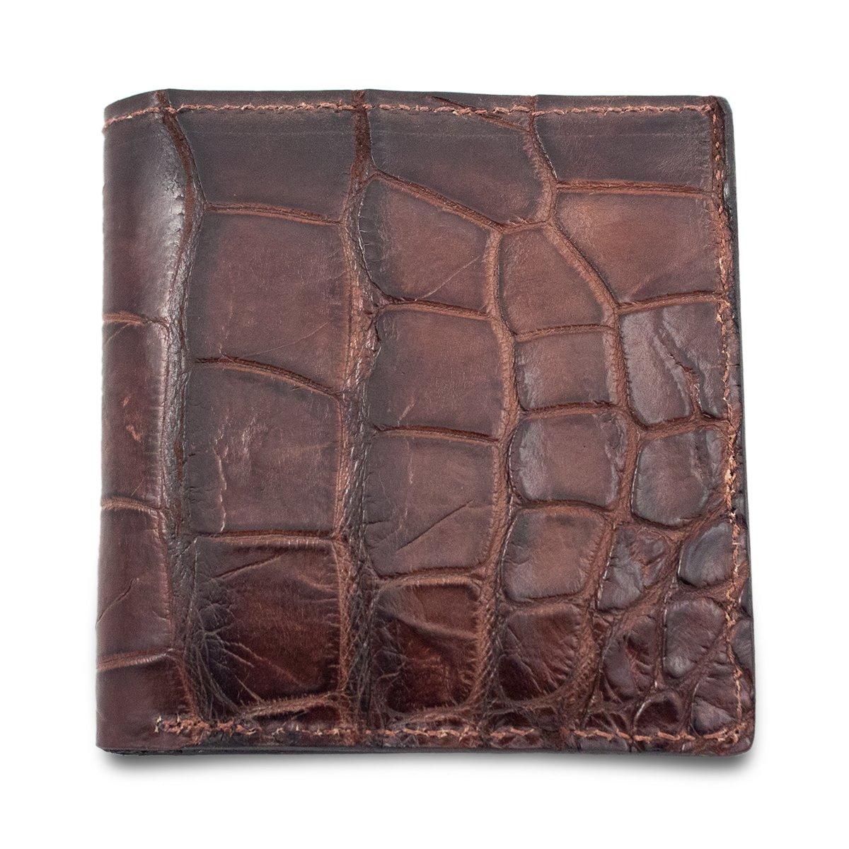 Genuine Alligator Skin Hipster Bifold Leather Wallet Handmade with 12 Card Slots