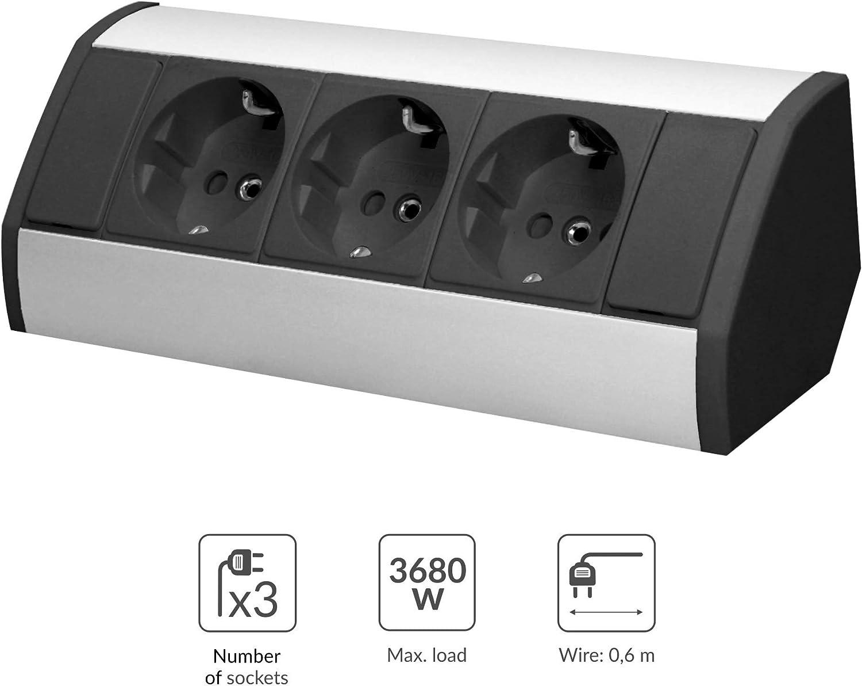 ORNO GM-9001// Bureau et Plan de Travail 3680W Schuko Type De Prise Allemand Montage en saillie /à 45/° Multiprise Electrique Dangle Id/éal pour Cuisine Blanc GS