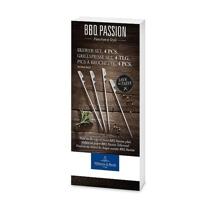 Compra Villeroy & Boch BBQ Passion Pinchos de barbacoa, Set de 4, 19 cm, Acero inoxidable en Amazon.es
