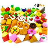 O'Hill Pack of 48 Pencil Erasers Assorted Food Cake Dessert Puzzle Erasers for Birthday Party Supplies Favors, School Classroom Rewards and Novelty Toys