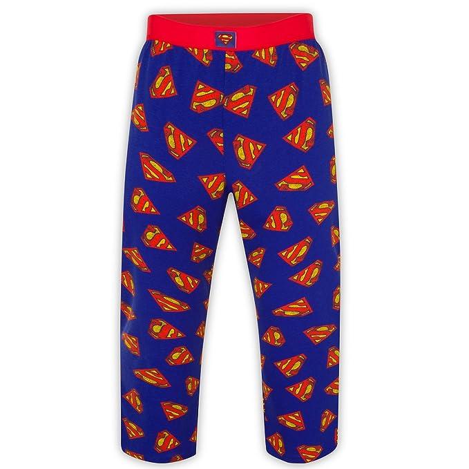 DC Comics - Pantalones de pijama oficiales - Para hombre - Batman, Superman - Azul