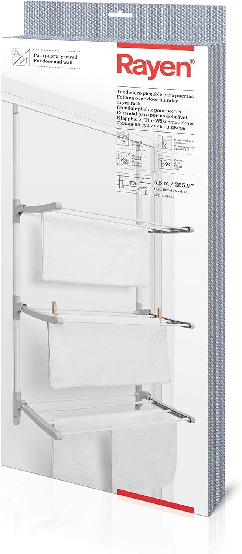 Rayen Tendedero Plegable para Puertas y Pared | Varillas XXL | 6,5 m de Superficie de Tendido | Multifuncional, Blanco Y Gris, 124 x 62,5 x 5,5 cm