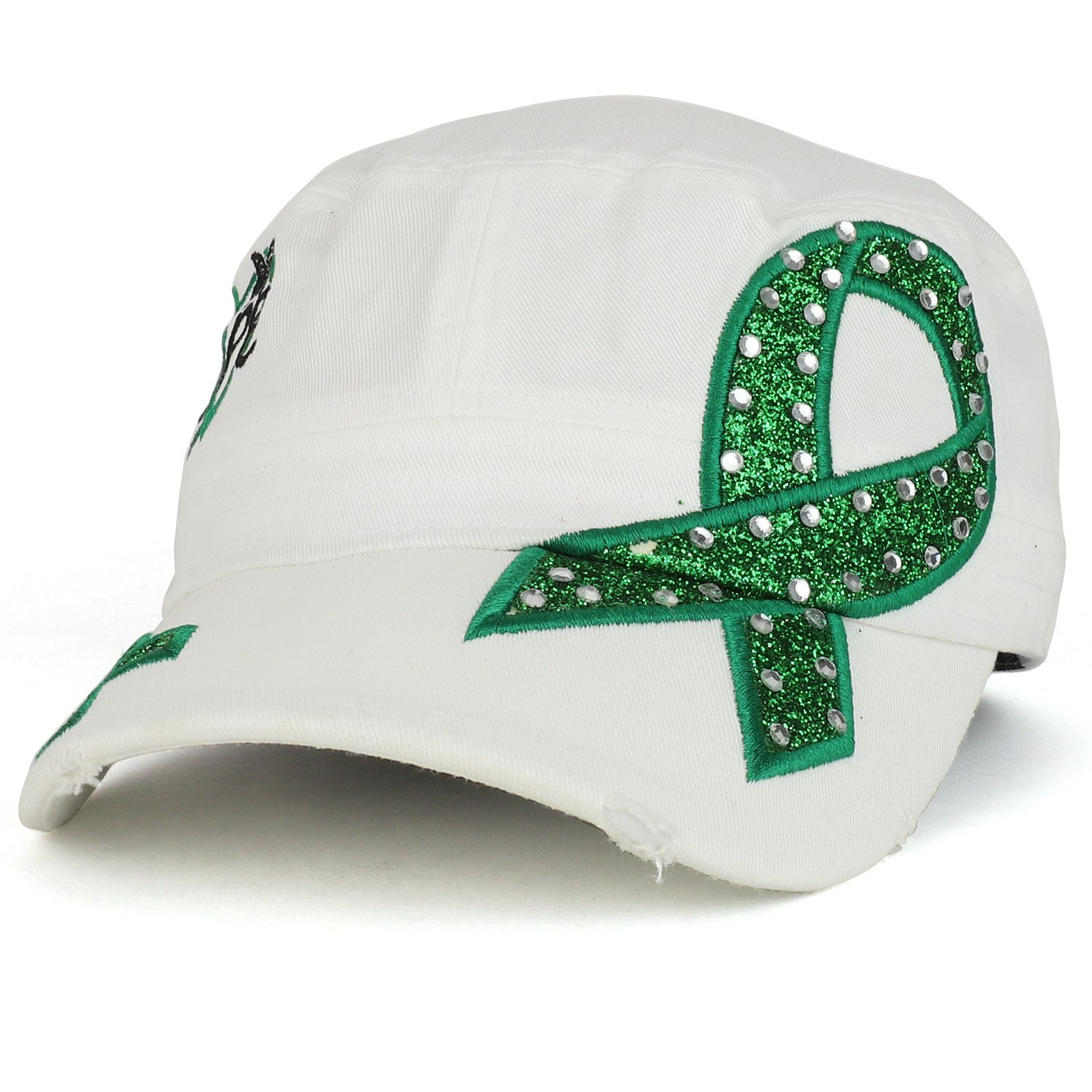 Trendy Apparel Shop Hope Liver Cancer Awareness Green Ribbon Embroidered Jeep Style Army Cap - White