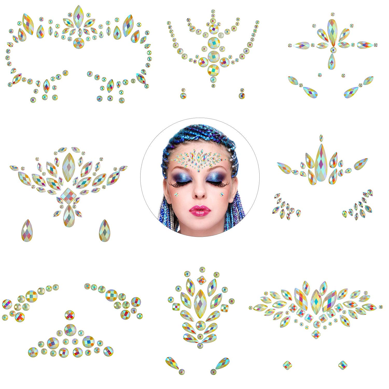 8 Pieces Noctilucent Face Gems Luminous Temporary Tattoo Rhinestone Stickers Waterproof Glitter Face Jewels for Halloween, Party, Rave Festival, Dress-up Decoration