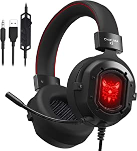 Gaming Headset, MMUSC Stereo Headphones for Laptop, Tablet, PS4, PC, Xbox One Controller, Noise Cancelling Over Ear Headset with Mic, LED Light, Bass Surround