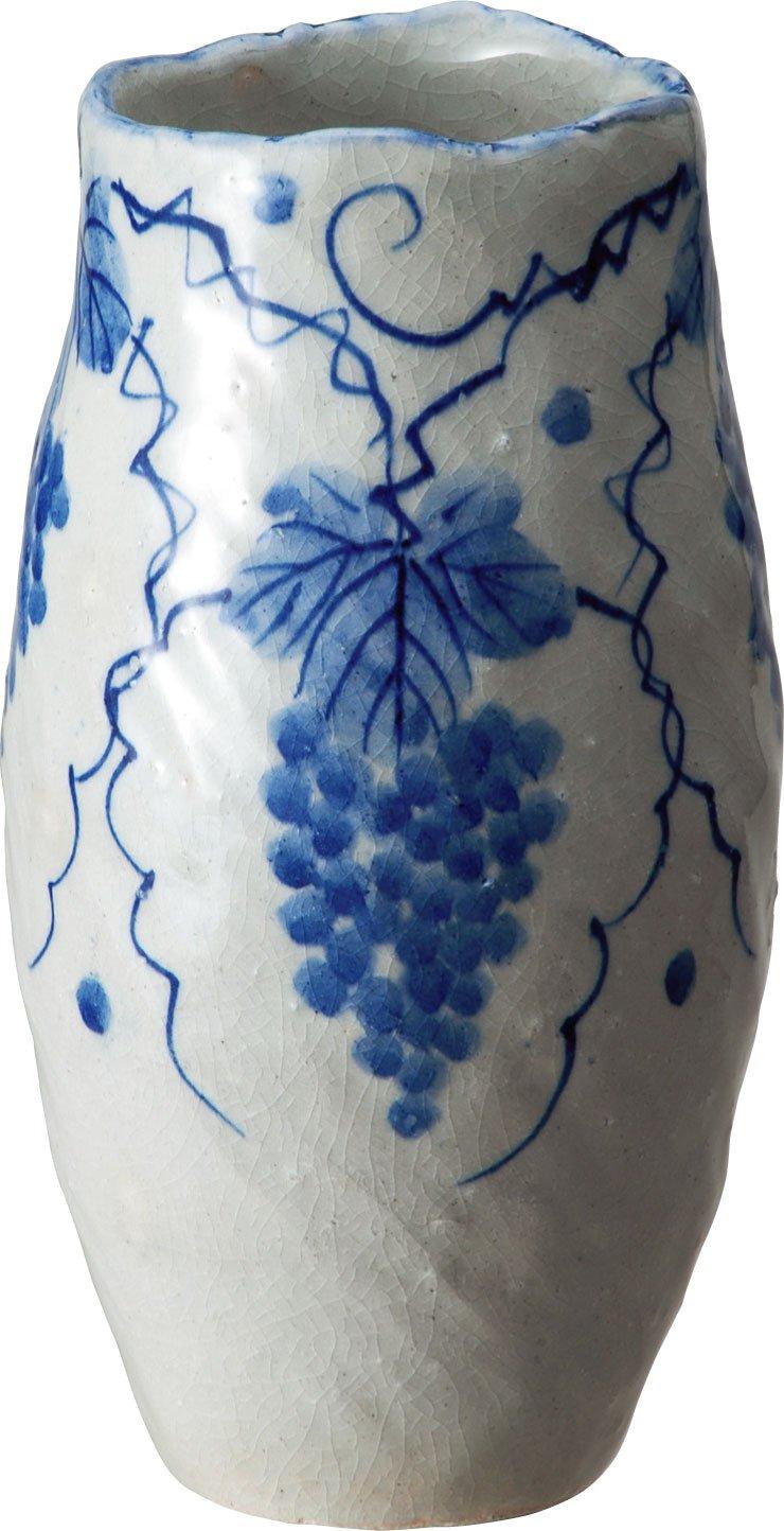 信楽焼 花器 ぶどう絵花入 幅13.5x直径13.5x高さ25cm 511-01 B07DQL8SPG