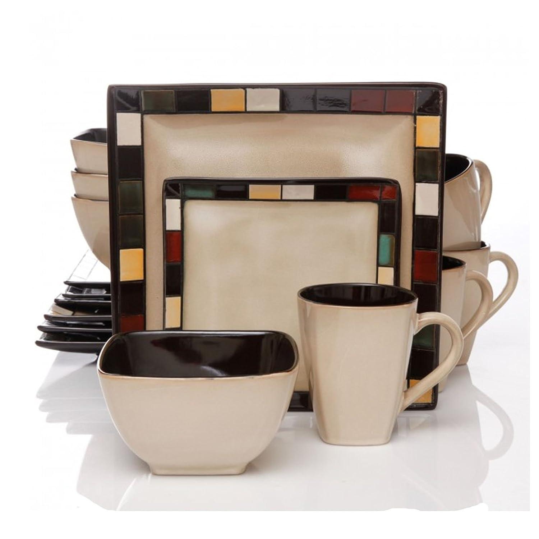 Amazon.com | Better Homes And Gardens Mosaic Tile Square 16 Piece Dinnerware  Set: Dinnerware Sets