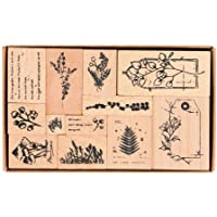 Wooden Rubber Stamps, NogaMoga 12pcs Plant Patterns Rubber Stamp with 11 Sizes, Decor Stamps for Card, DIY, Paper Craft…