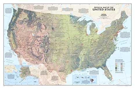 Amazon.com : Laminated United States Physical Map Poster 36 x 24in ...