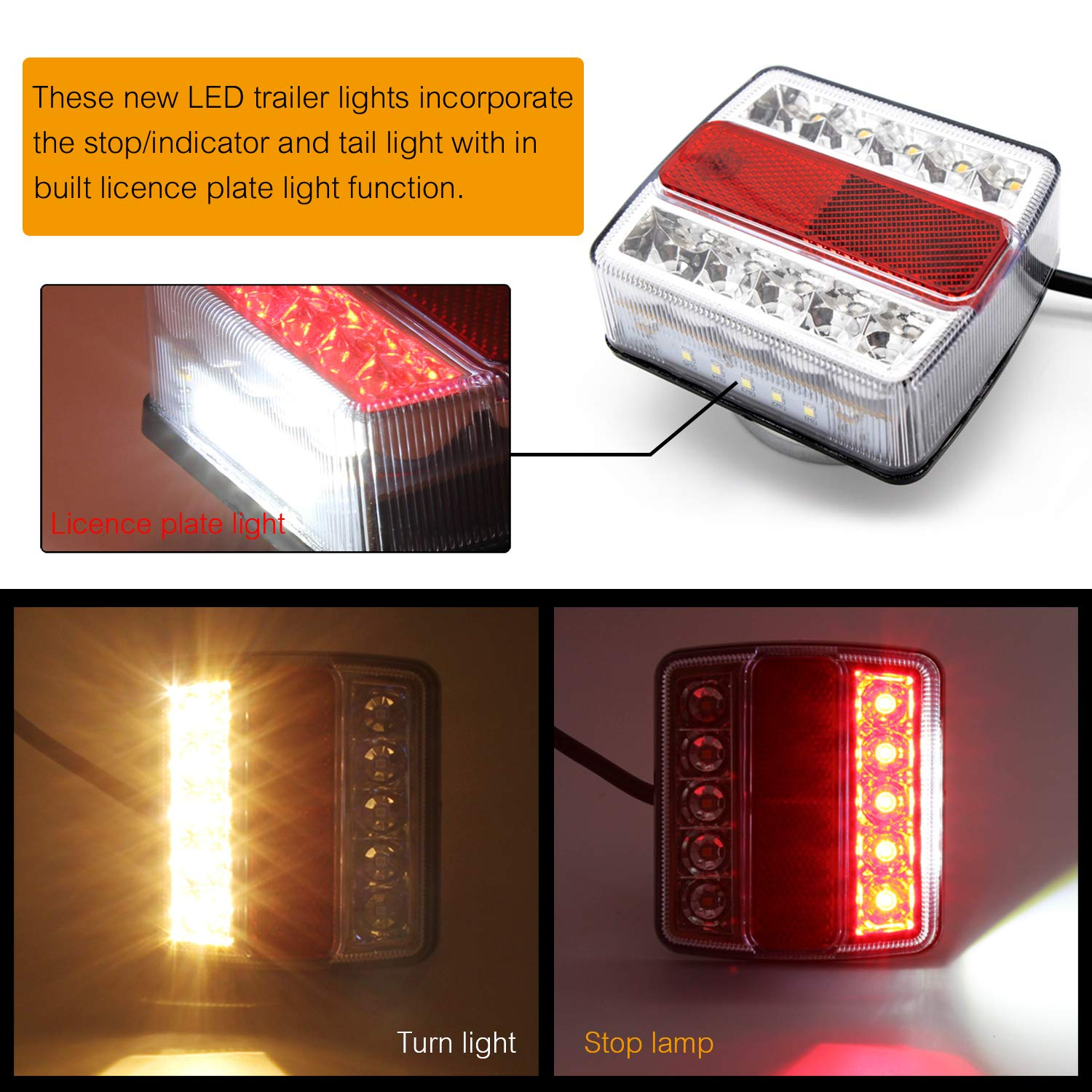 Taillights Combined Stop WoneNice 12V LED Low Profile Submersible Trailer Tail Light Kit Turn Function