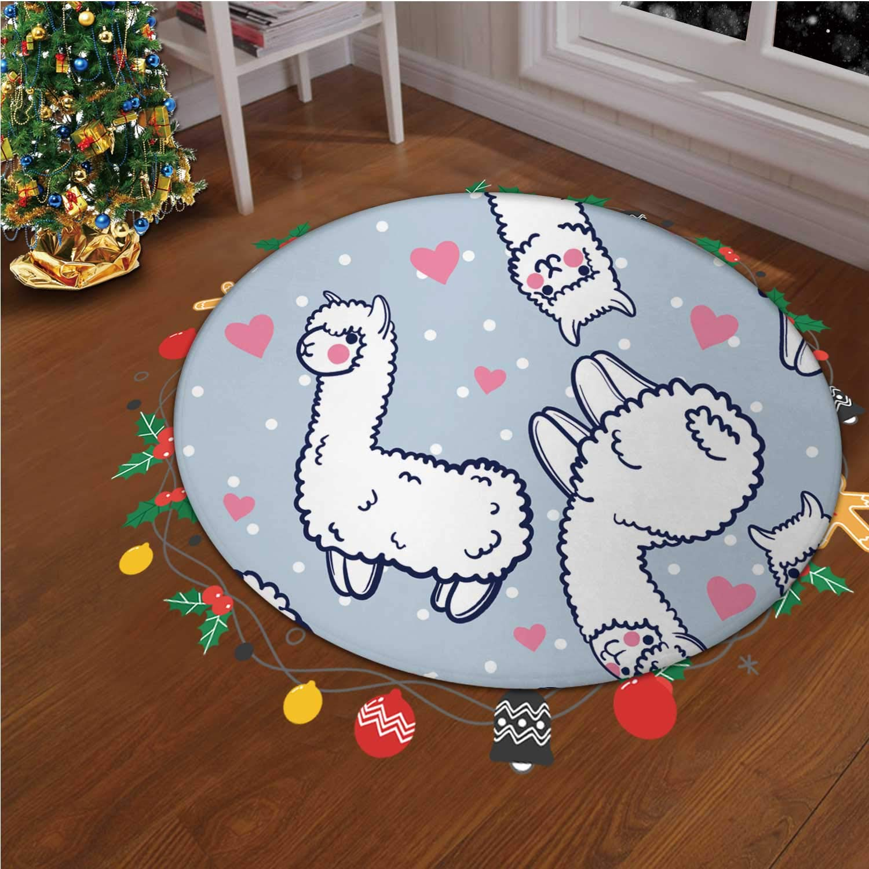 Seamless Vector Pattern Cute Alpacas Hearts Vector Christmas Throw Runner Rug Non Slip Backing Floor Carpet for Living Room Modern Accent Home Decor,okjeff33267o,4.92 ft