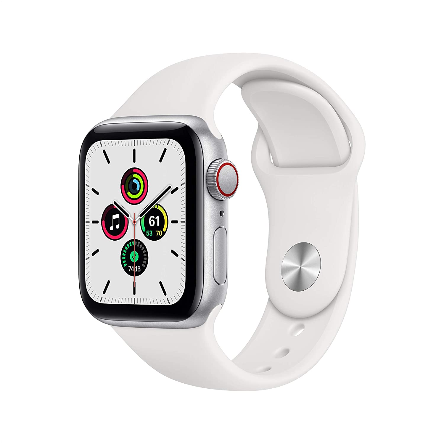 Apple Watch SE (GPS + Cellular, 40mm) - Silver Aluminum Case with White Sport Band (Renewed)