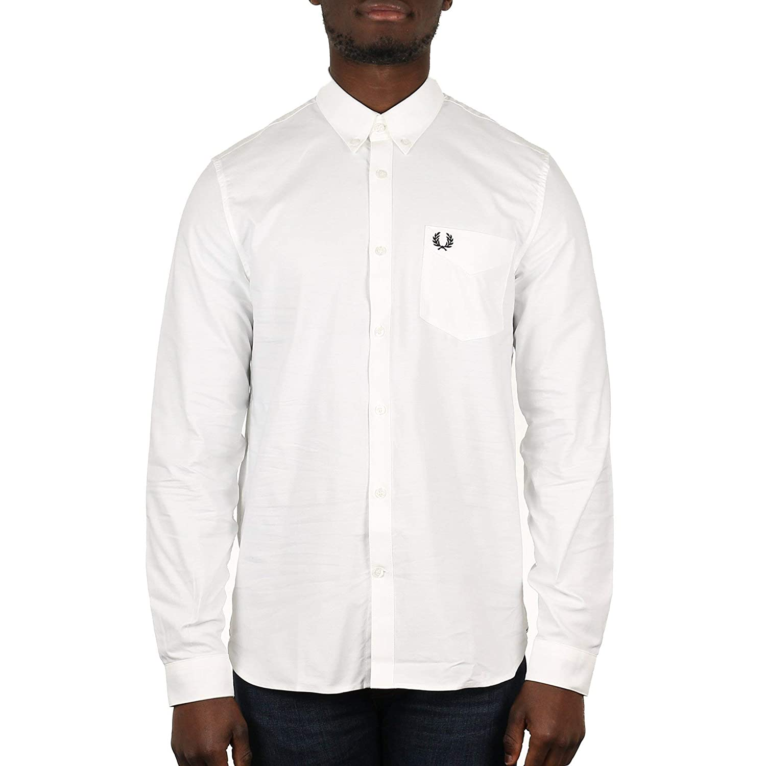 TALLA S. Fred Perry Hombres Camisa Oxford Classic Blanco