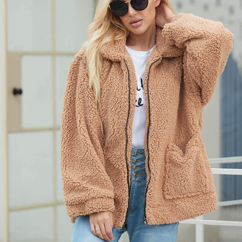 VESNIBA Women's Coat Sale Ladies Jacket Women's Fleece Faux Fur Coats Casual Outerwear Tops Open Front Cardigan Jacket Sweater with Pockets Brown
