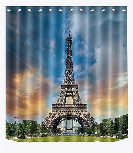 LB Sunset Eiffel Tower Love Paris Shower Curtain Set For Bathroom By Romantic French European
