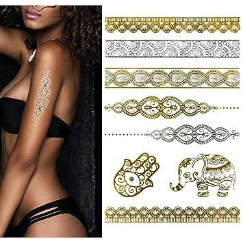Amazon Com Temporary Boho Metallic Henna Tattoos Over 75 Mandala