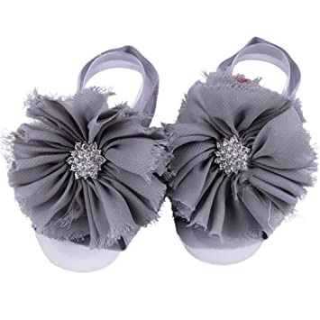57e41c517 Amazon.com   FEITONG 2016 1Pair Infant Pearl Chiffon Barefoot Toddler Foot  Flower Beach Sandals (Grey)   Baby