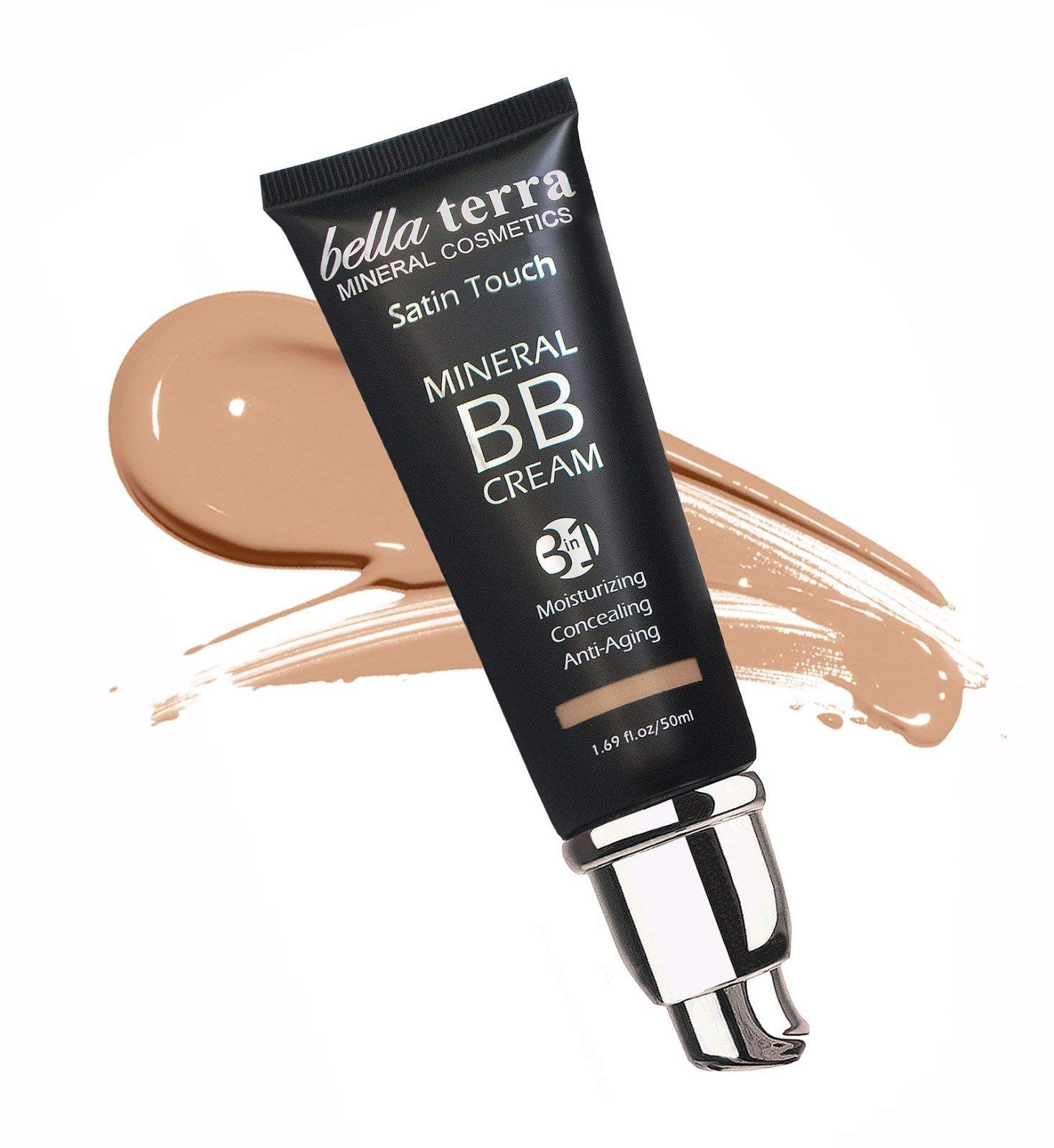 Bella Terra BB Cream 3-in-1 Tinted Moisturizer - Buildable Coverage - Light to Dark Skin Tones- with Natural SPF- Mineral Makeup Foundation- Hypoallergenic (1.69 Oz) (Medium b 104)