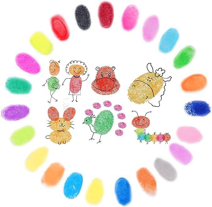 24 Farben Stempelfarbe Waschbar Fingerabdruck Set,Wasserl/öslich Stamp Pad Tinte Pads Stempel Mehrfarbig f/ür Hochzeit Scrapbooking Handwerk Stoff Malerei Party Kinder Lirener Stempelkissen Set