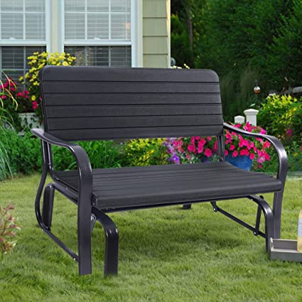 Stylish Outdoor Patio Swinging Bench With Heavy Duty Steel Construction,  Powder Coated Steel Frame,