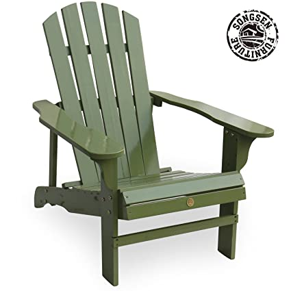 Songsen Outdoor Wooden Adirondack Chair Lawn Patio Deck Garden Furniture,  Light Green