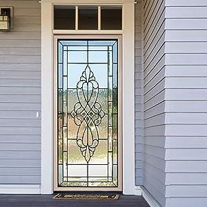 Stained Glass Effect Door Sticker 094, Peel and Stick Vinyl Door Mural Decals for Home Decor, 32.3x78.7