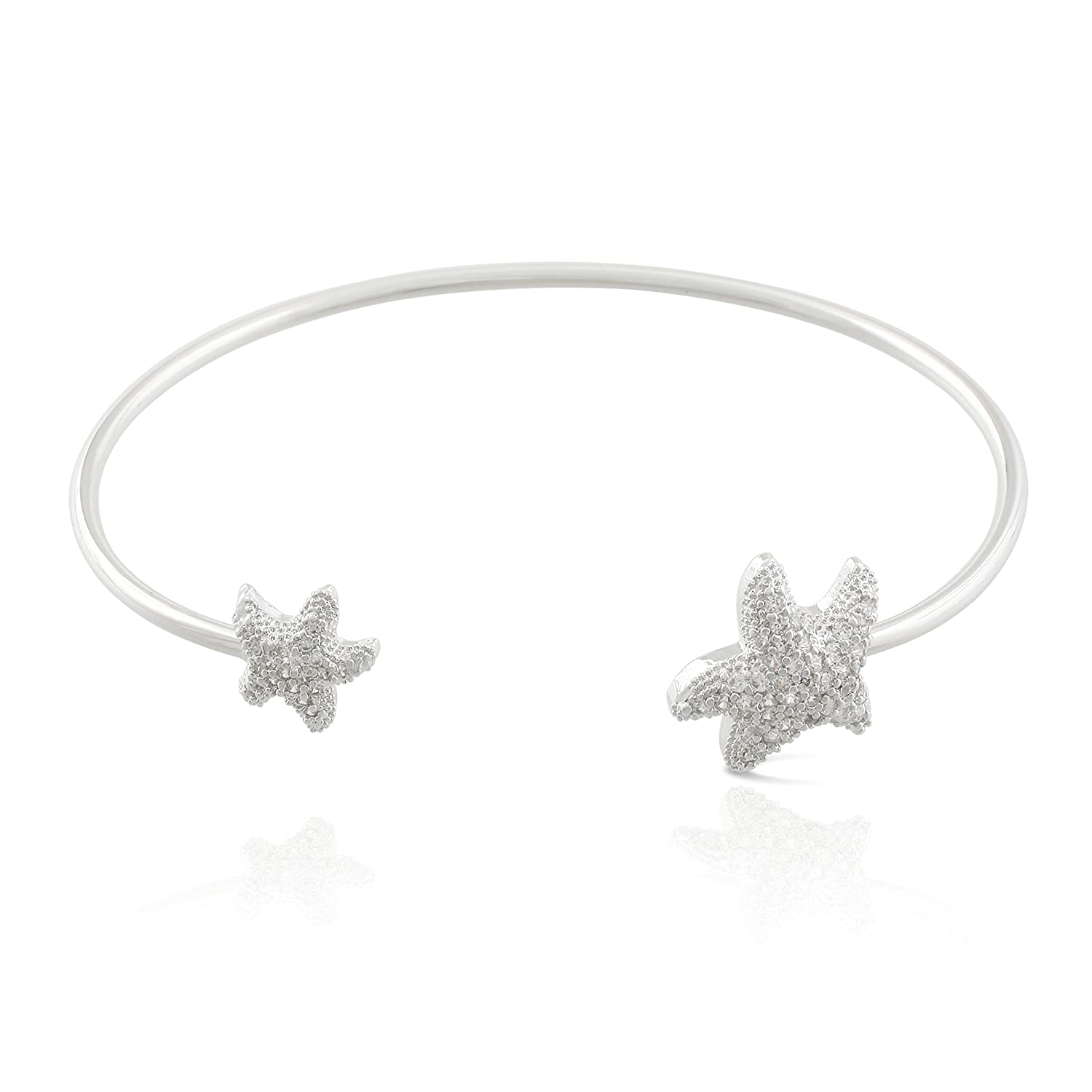 JanKuo Jewelry Silver Plated Cubic Zirconia Pave Starfish Bangle Bracelet.
