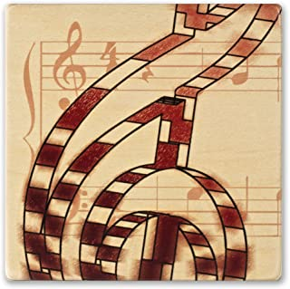 product image for Musical Red Notes Wooden Coaster