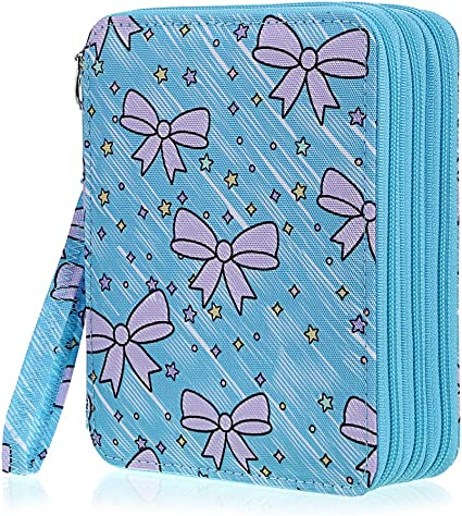 Pink BTSKY Zippered Pencil Case-Canvas 72 Slots Handy Pencil Holders for for Prismacolor Watercolor Pencils Crayola Colored Pencils Marco Pencils