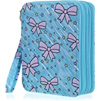 BTSKY Zippered Pencil Case-Canvas 72 Slots Handy Pencil Holders with Printing Pattern for Prismacolor Watercolor Pencils…