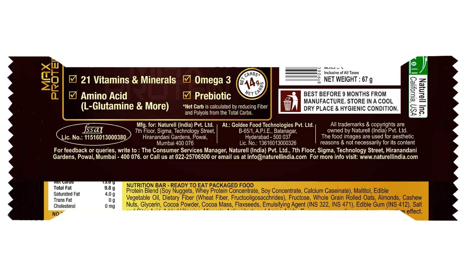 "Amazon.com: RiteBite Max Protein Bar 67G "" (Chocoslim, Pack Of 6) Brown: Health & Personal Care"
