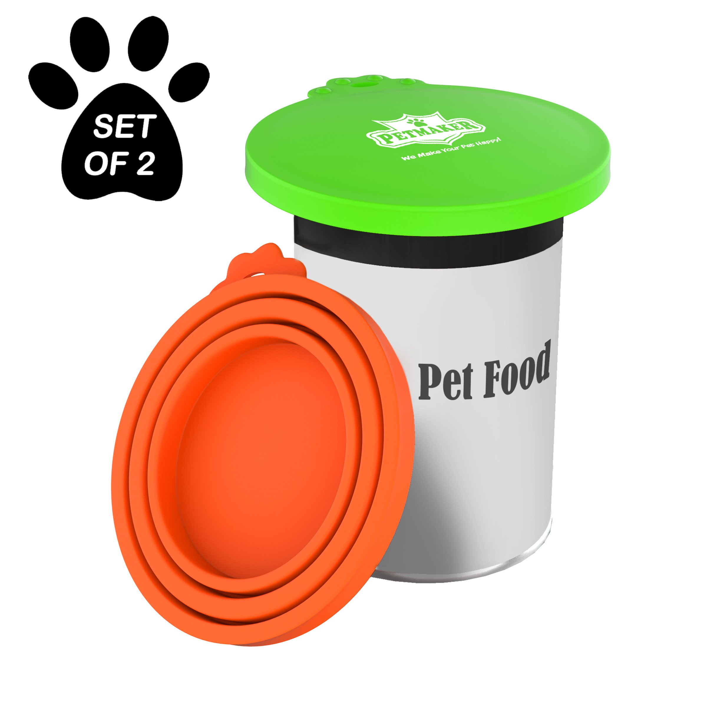 PETMAKER Silicone Pet Food Can Lids-Keep Opened Dog or Cat Food Portions Fresh-Fits 3oz, 5.5oz, 12oz, and More-Easy Storage, BPA-Free by (Set of 2)