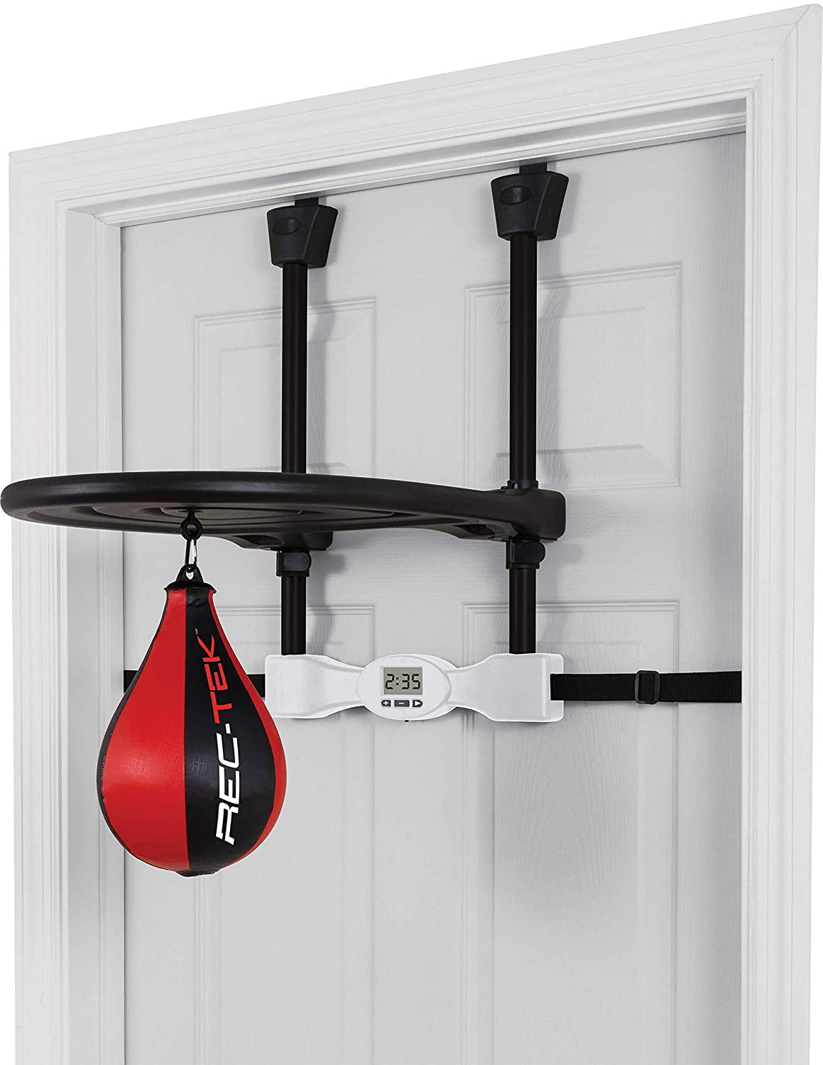 Rec-Tek Over The Door Speed Bag for Kids - Features Easy Setup with No Tools Requi赤, Automatic Scoring, and Adjustable Height