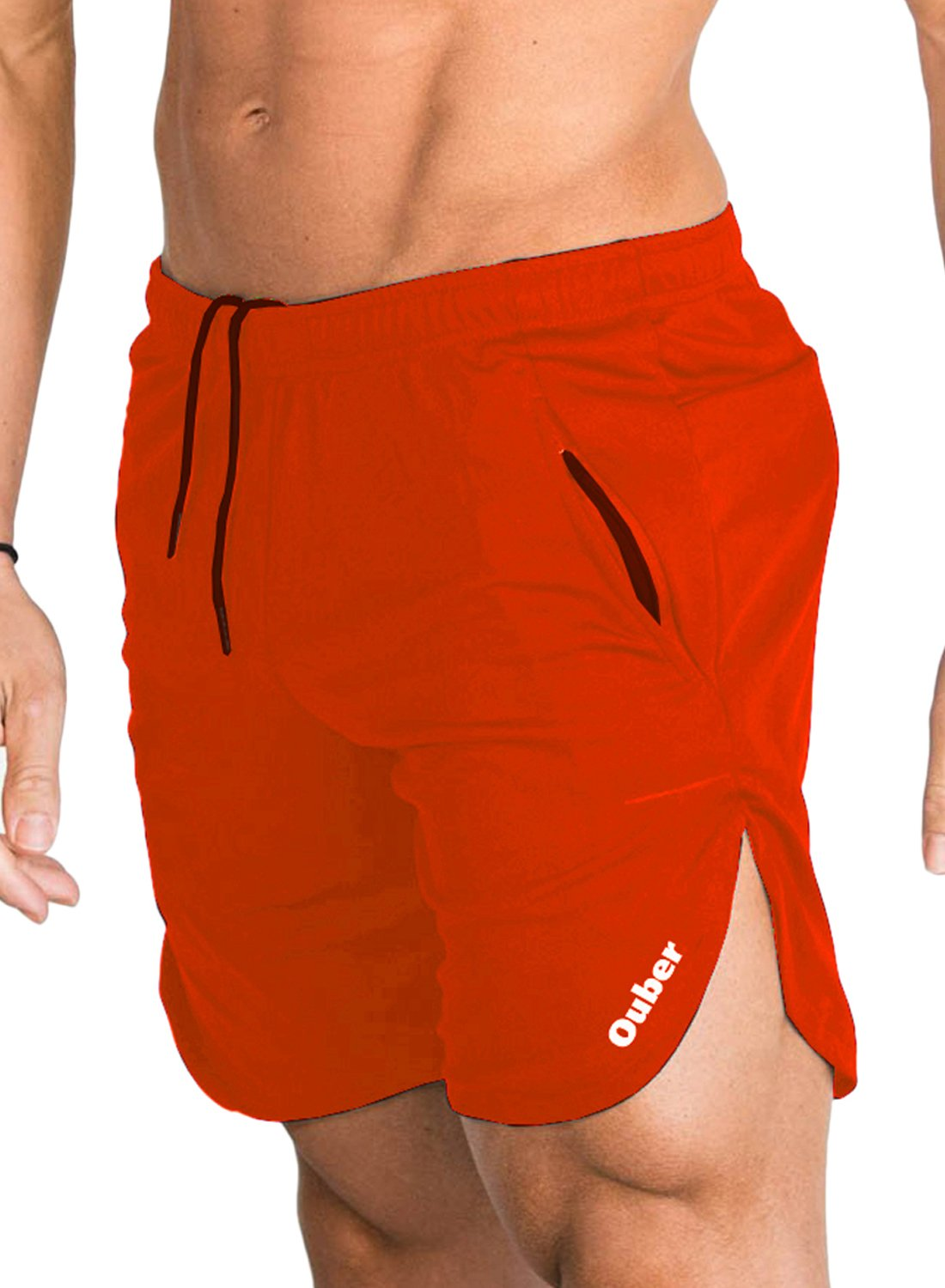 Ouber Men's Fitted Cotton Workout Shorts Casual Gym Joggers Shorts with Zipper Pockets (Orange,XL) by Ouber