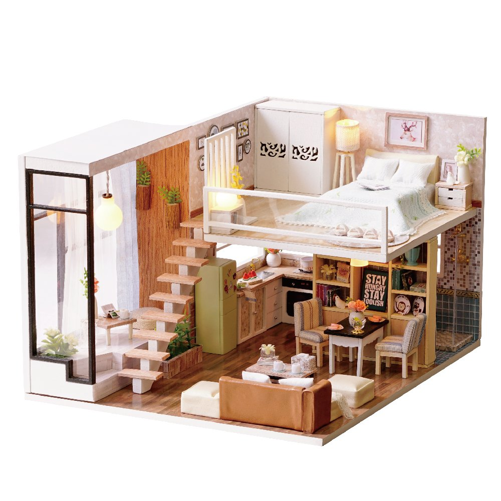 Spilay diy miniature dollhouse wooden furniture kithandmade mini modern apartment model with dust cover music box 124 scale creative doll house toys