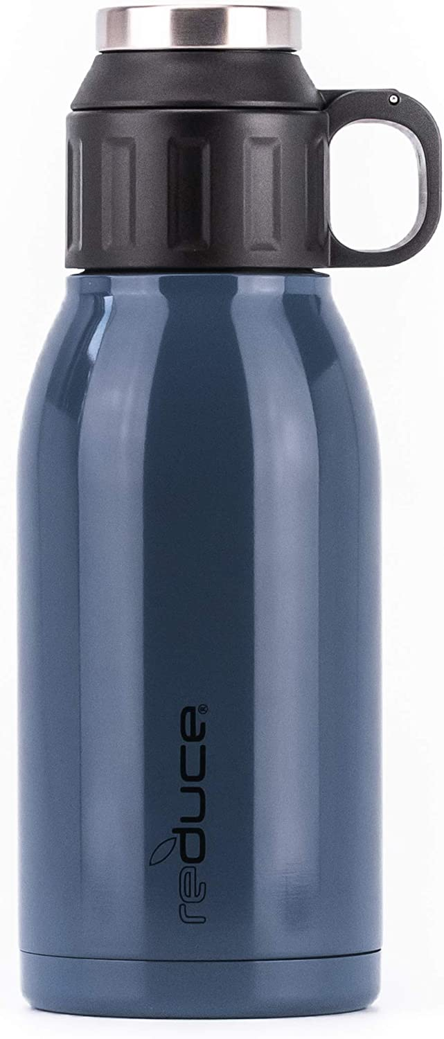 REDUCE 32oz Dual-Wall Vacuum Insulated Stainless Steel Canteen and Growler with Leak-Proof Lid - for Hot & Cold Beverages, Great for Camping, Tailgating & Parties- Opaque Gloss Stone Blue