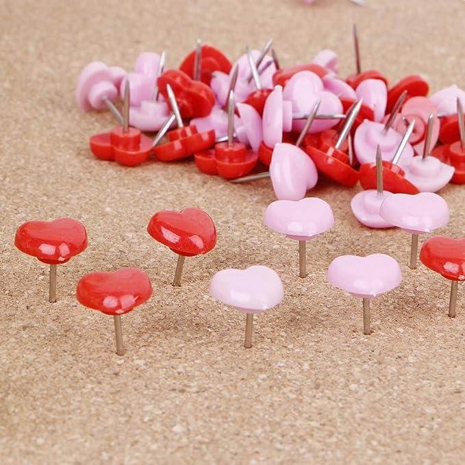 a Forma di Cuore ECMQS 50/Pezzi qualit/à cimici colorato Forniture Scolastiche di Ufficio Rosa Plastica
