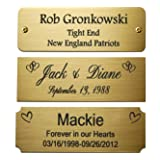 "Size: 3"" W x 1"" H, Personalized, Custom Engraved, Colored, Solid Brass Plate Picture Frame Name Label Art Tag for Frames, wit"