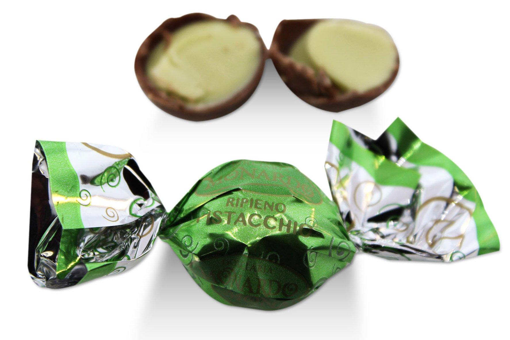 Monardo, Italian Pistachio Pralines w/ Milk Chocolate (Crema Pistachio Tartufo) (40 pcs) by Monardo