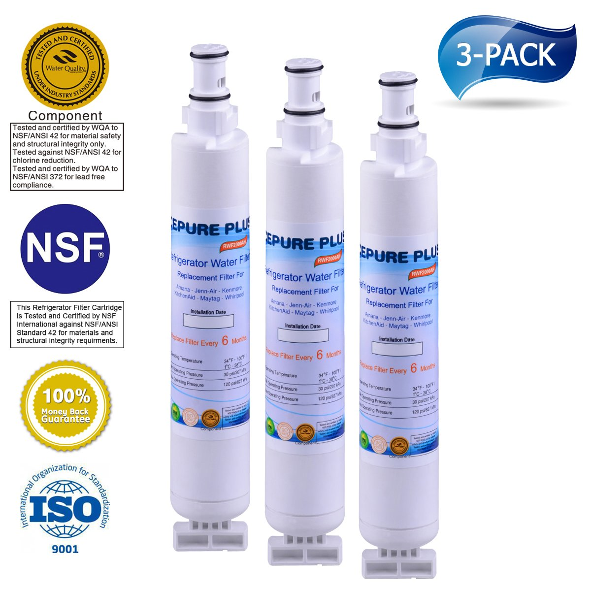 ICEPURE PLUS 4396701 Replacement for Whirlpool 4396701,EDR6D1,Kenmore 9915,46-9915,NL120V,4396701,4396702 Refrigerator Water Filter 3 Pack
