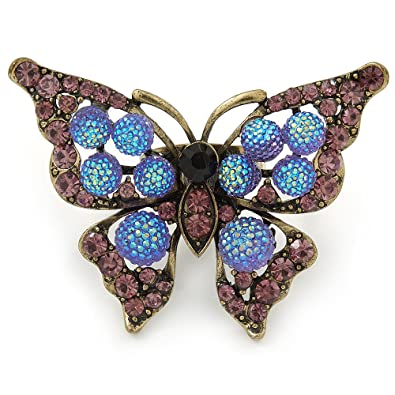 Avalaya Large Blue Crystal Butterfly Ring In Gold Tone - Size 7/8 Adjustable UhwRqDVnG