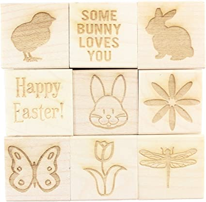9 Pieces Easter Engraved Wood Rubber Stamp Set