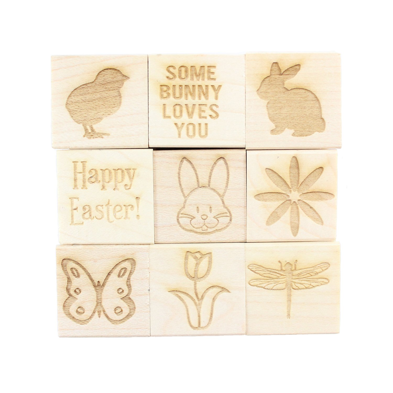 Easter - Engraved Wood Rubber Stamp Set - 9 Pieces