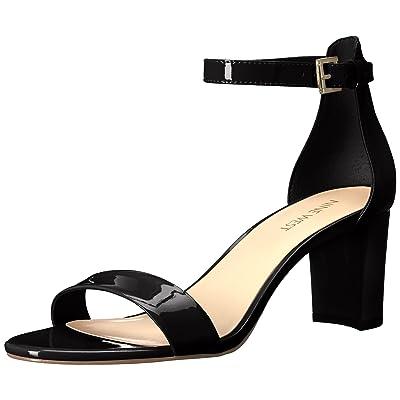 NINE WEST Women's Pruce Synthetic Heeled Sandal, Black/Black, 9.5 M US | Heeled Sandals