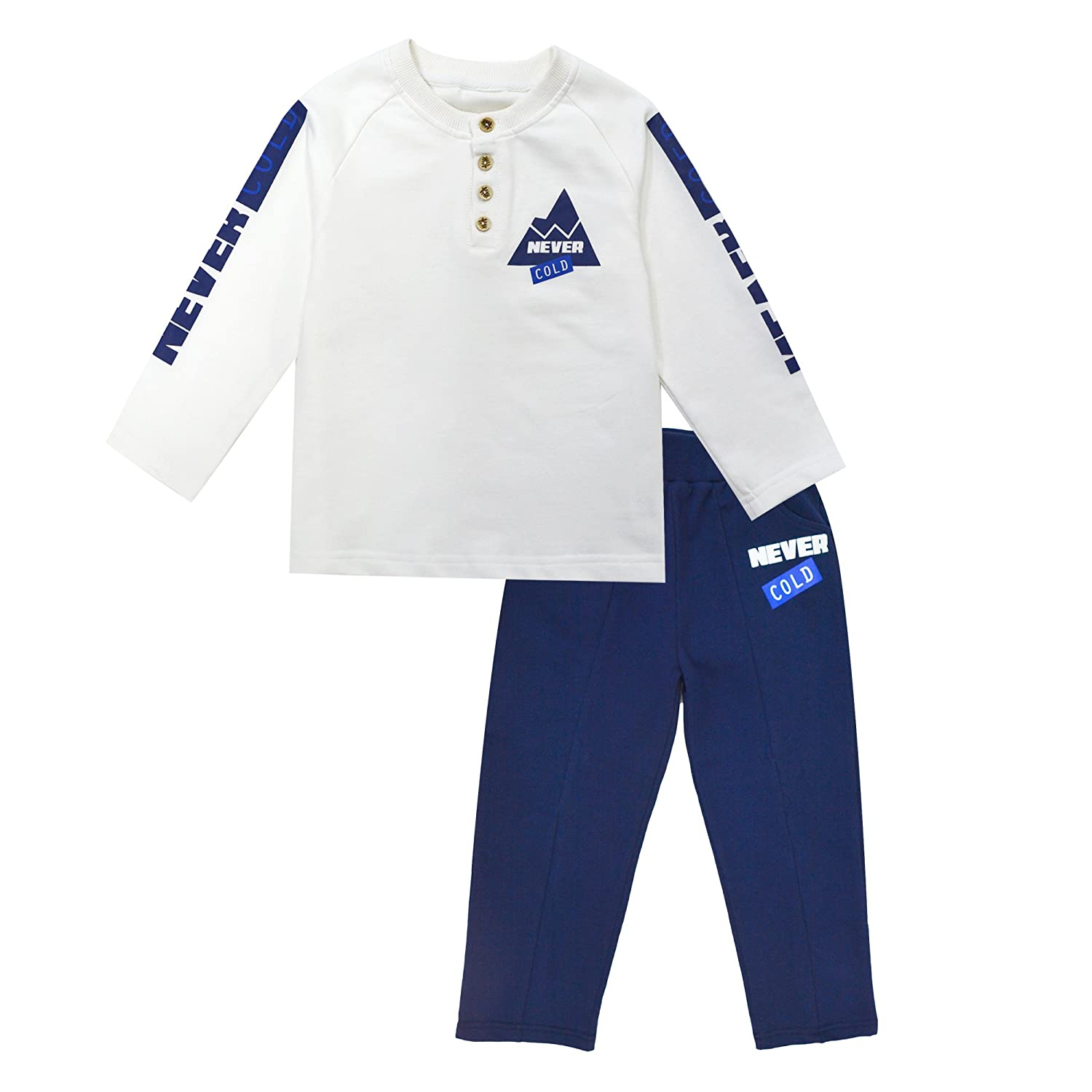 KISBINI Boy's Cotton Casual Shirt and Elastic Sport Panties Suits 2-Pc Sets