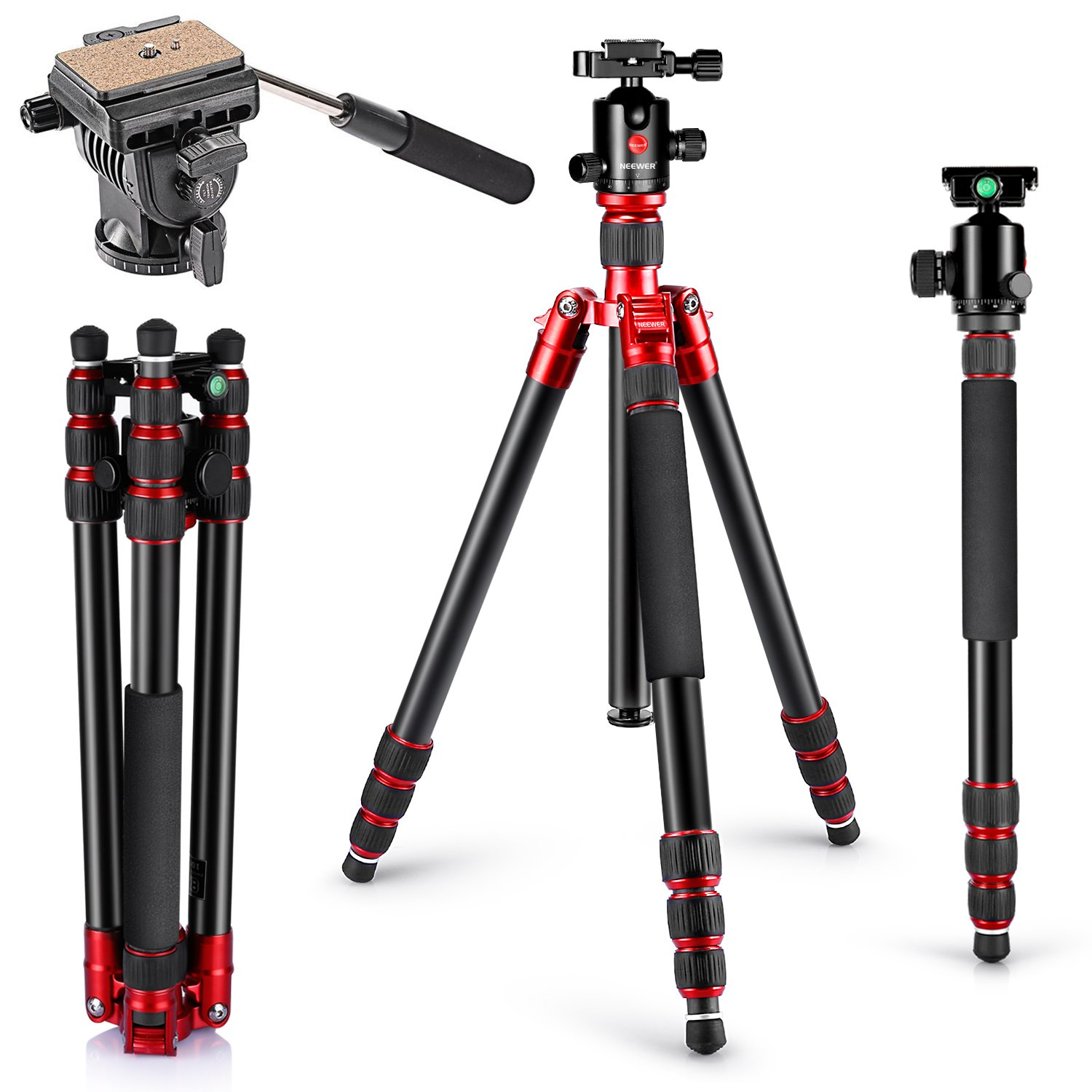 Neewer Aluminum Alloy Tripod Monopod 63''/160cm with 360 Degree Ball Head, Fluid Video Head, 1/4-inch Quick Shoe Plate for DSLR Camera, Video Camcorder up to 33 pounds/15 kilograms(Red) by Neewer