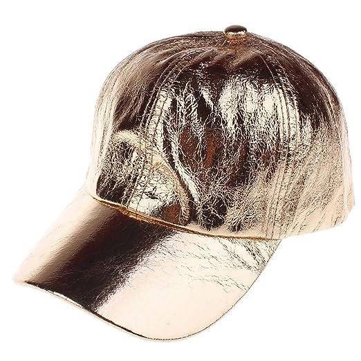 7eccd0d45bab19 Amazon.com: iCJJL 2019 Fashion Hip Hop Baseball Caps - PU Reflective Shiny  Distressed Stylish Rap Stars Hats Coffee: Clothing