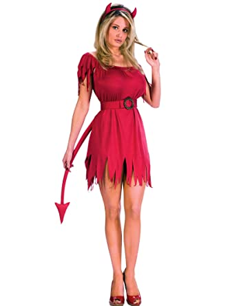Short Red Devil Costume Dress With Tail And Horns Womens Theatrical Costume  Sizes: Small
