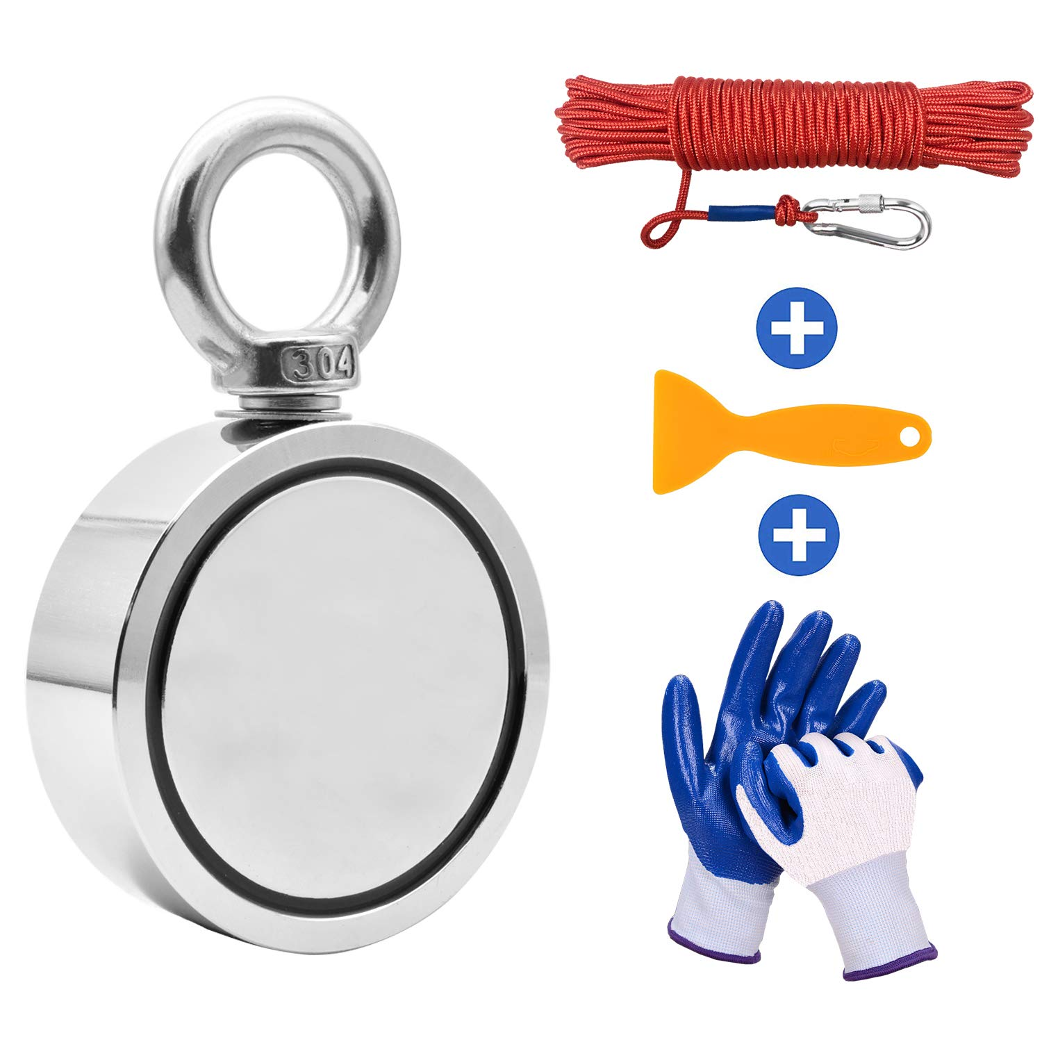 Fishing Magnet with Rope Glove Set, 661LB(300KG) Pulling Force Super Strong Double Sided Neodymium Magnet with Nylon Rope x 66ft & Carabiner for Magnet Fishing and Retrieving in River, Diameter 60mm by HAIY