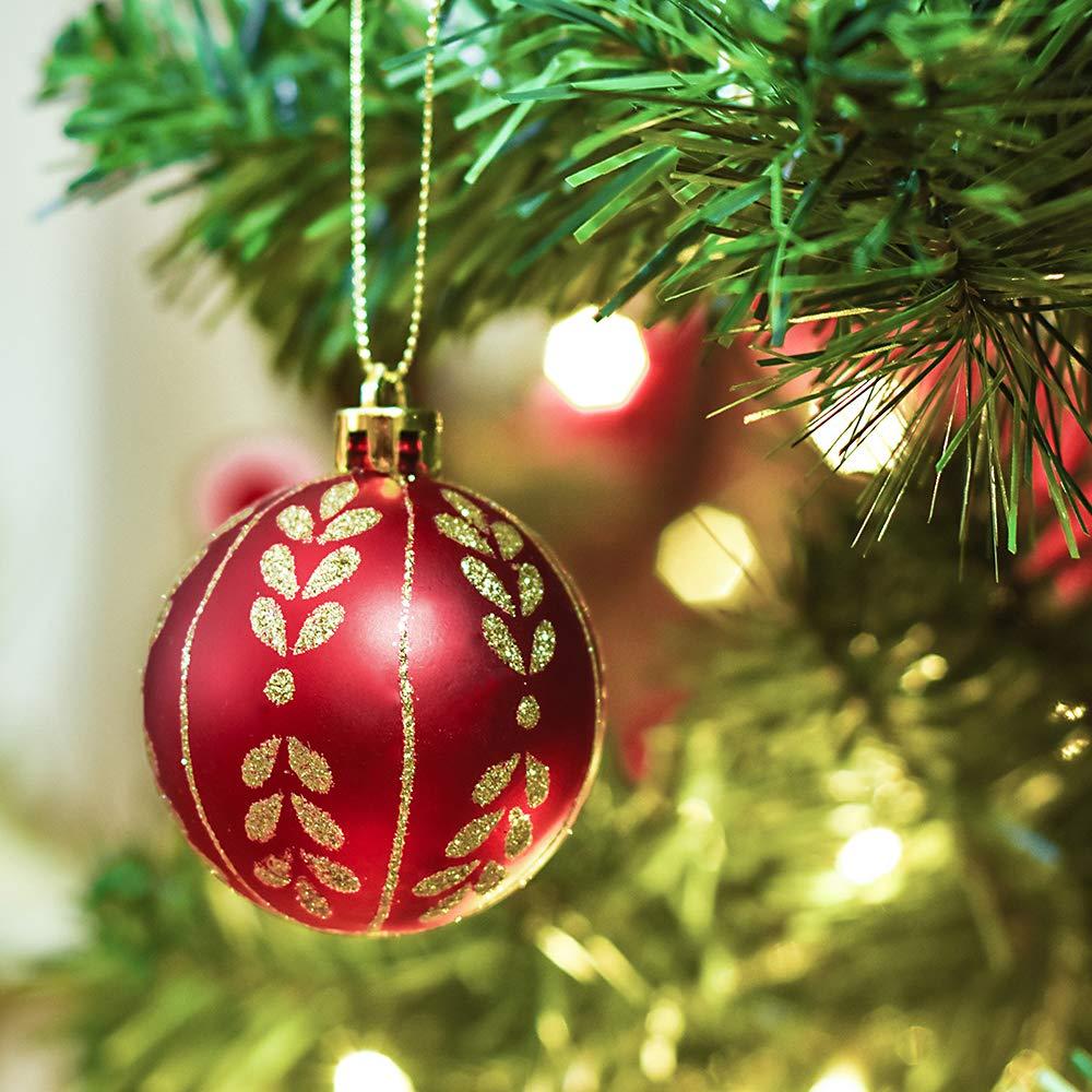 Valery Madelyn 9Pcs Bolas de Navidad de 6cm, Adornos de Navidad para Arbol, Decoración de Bolas Navideños Inastillable Plástico de Rojo y Dorado, ...